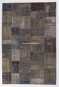 GRAY-color-Patchwork-RUG-HANDMADE-from-OVERDYED-distressed-old-Turkish-Carpets