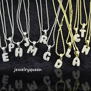 Una-carta-de-burbuja-para-alfabeto-CZ-Colgante-T-14k-Oro-Plateado-Soga-Cadena-Hip-Hop-Mini
