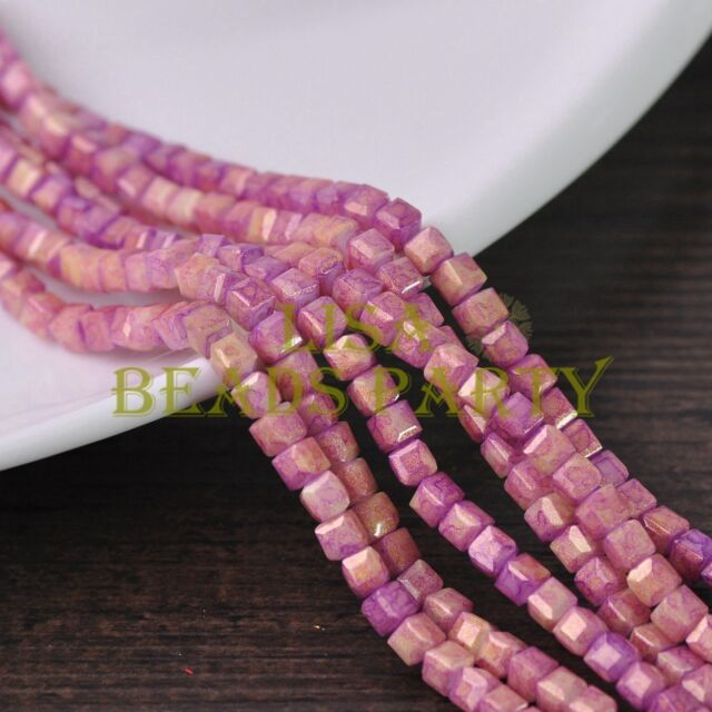 New 100pcs 4mm Cube Square Gold Foil Glass Loose Spacer Beads Pink&Purple
