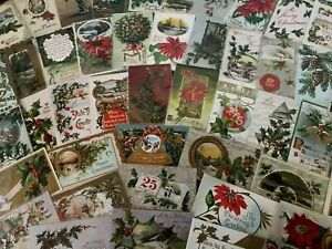 Big-Estate-Lot-of-75-Vintage-Antique-Christmas-Holiday-Postcards-in-Sleeves-s660
