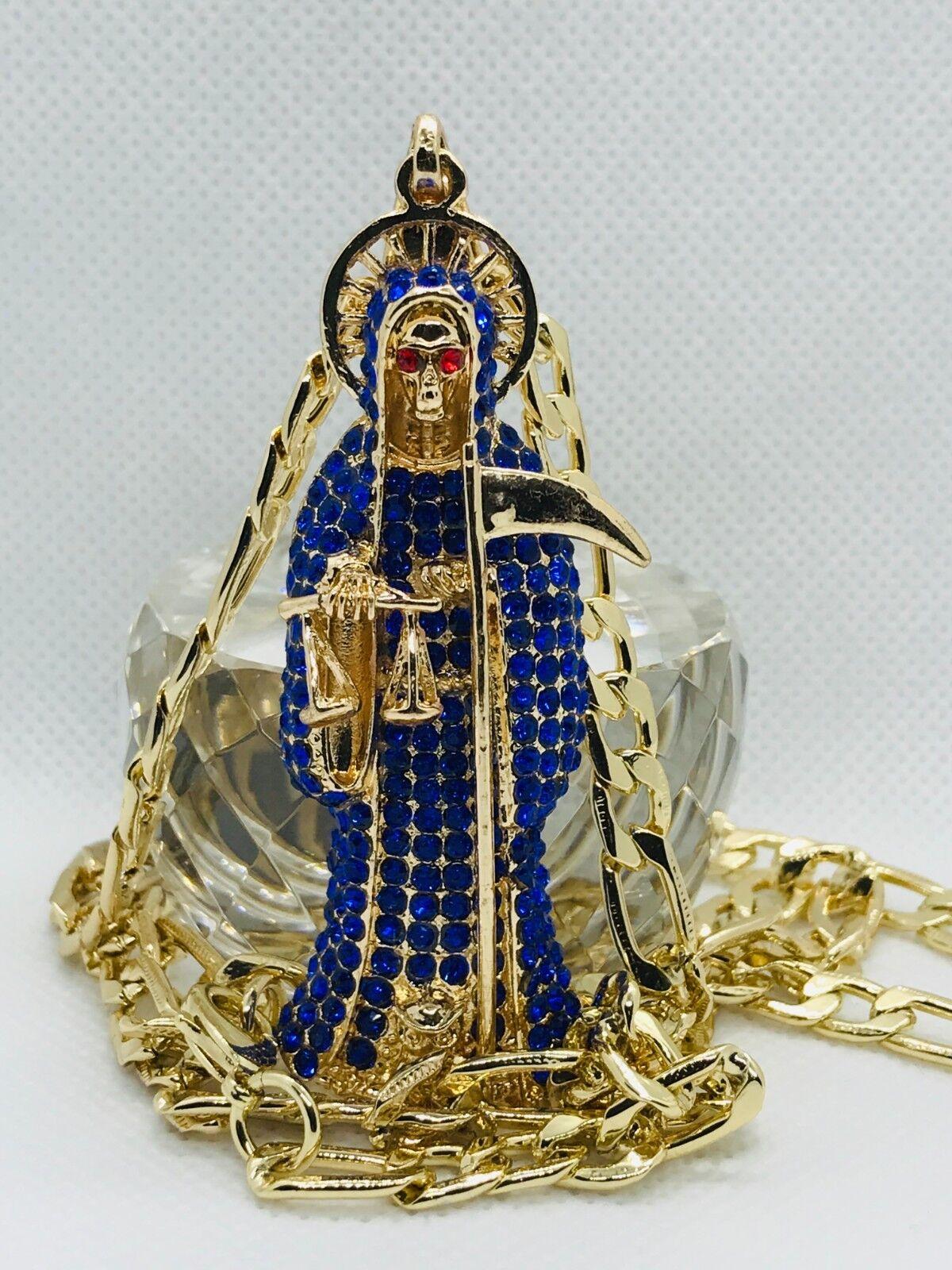 Santa Muerte blue pendant gold filled Holy death y cadena Figaro