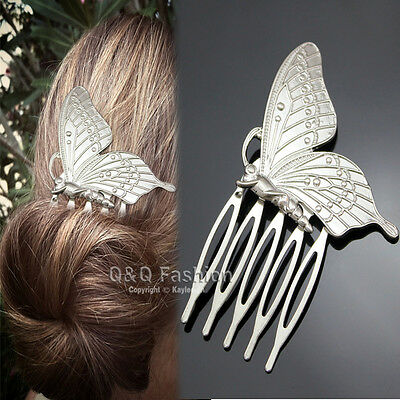 Victorian Silver Pollen Butterfly Wing Hair Pin Clip Dress Snap Barrette Comb