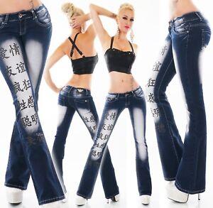 Mujer-Cadera-Vaqueros-Boot-Cut-Recortado-Pantalon-Tatuaje-Estampado-Jean