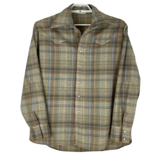 Vintage-Mens-Medium-Shirt-Pearl-Snap-Western-Button-Front-Brown-Tan-Plaid