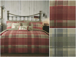 Tartan-Check-Quilt-Duvet-Cover-Bedding-Set-Country-Christmas-Cotton-Stag-New-UK