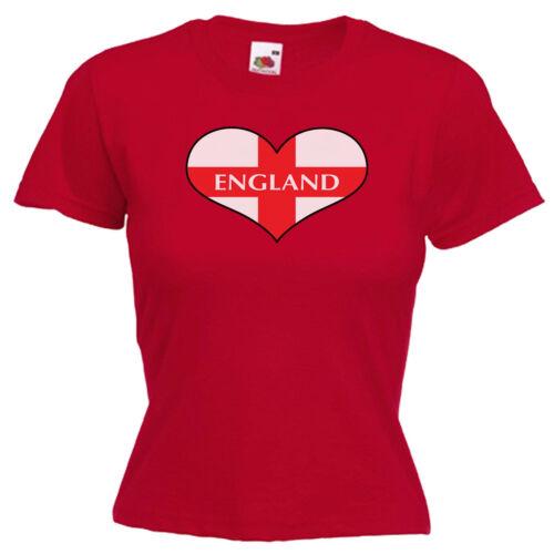 England Love Heart Flag Ladies Lady Fit T Shirt 13 Colours Size 6-16