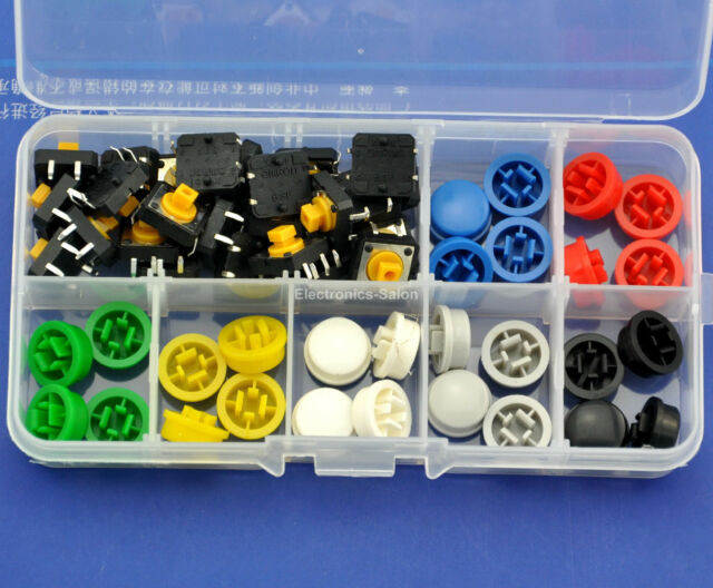 OMRON B3F-4055 Tactile Switch & 7 Color KeyCaps Kit, 12x12x7.3mm, Momentary.