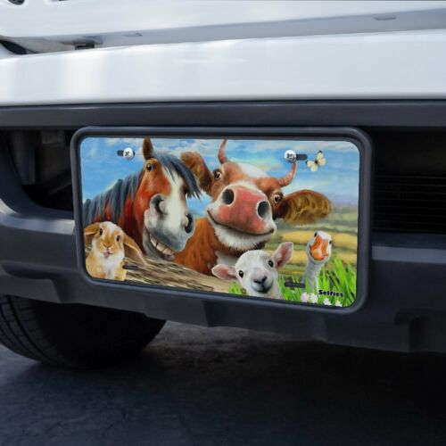 Funny Farm Selfie Cow Horse Rabbit Sheep Novelty Metal Vanity Tag License Plate