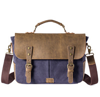 NEW Men Canvas & Leather Vintage Handbag Shoulder Briefcase Messenger Laptop Bag
