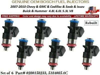 #0280158233 Fuel Injectors OEM Bosch 2011-2017 Dodge Challenger 3.6L V6 New x6