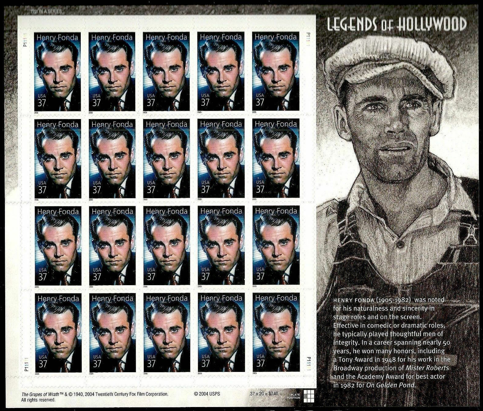 2005 37c Henry Fonda, Legends of Hollywood, Sheet of 20