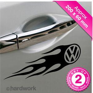2-X-VW-VOLKSWAGEN-FLAMES-Decals-Vinyl-Stickers-Car-Van-JDM-wings-bumper