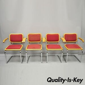 Details About Four Loewenstein Italian Marcel Breuer Cesca Style Upholstered Dining Arm Chairs