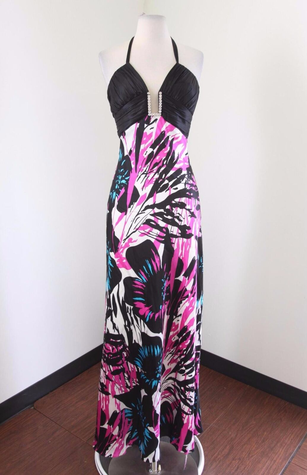 Cache Abstract Floral Halter Evening Dress Formal Prom Gown Größe 4 schwarz Rosa