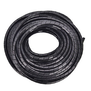 6mm-Outside-Dia-17M-PE-Polyethylene-Spiral-Cable-Wire-Wrap-Tube-Black-I