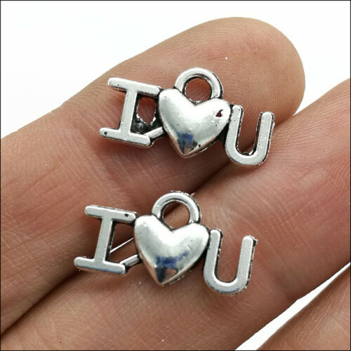 100pcs I LOVE U Letter Antique Silver Charms Pendant Jewelry Making DIY 17*9mm