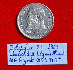 Belgique 1 Pièce Argent / 2 F 1909 Ttb+ 10 G Léopold Ii Légende En Flamand Km 59