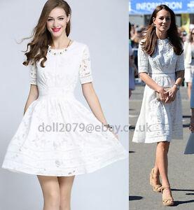 White-Lace-Roamer-Holiday-Cotton-Dress-Kate-Style-UK-Size-8-10-12-14-16-Beach