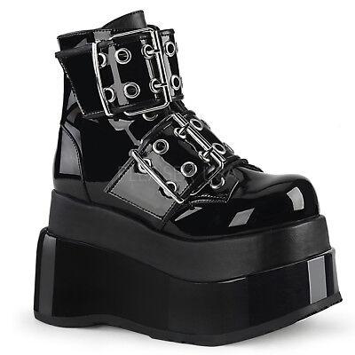 "Demonia Black Vegan 3.5/"" Platform Mega Buckle Studded Boots Club Goth 6-12"