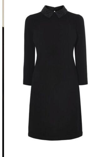 Karen Millen Crystal Collar Black Knit Dress