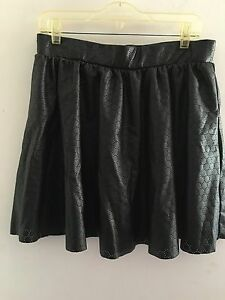 Bisou-Bisou-MICHELE-BOHBOT-Sz-L-Black-Laser-Cut-Faux-Leather-Mini-Full-Skirt