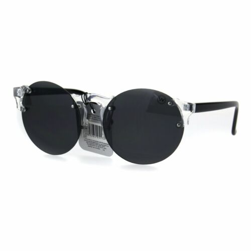 Mens Hipster Nerdy Retro Clear Circle Round Lens Funky Sunglasses