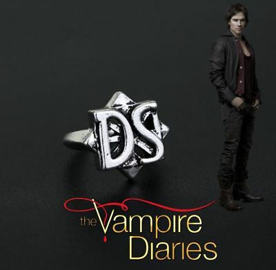 The Vampire Diaries Damon Salvatore Ds Initial Antique Silver Daylight Ring Ebay