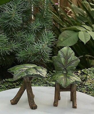 Miniature Dollhouse FAIRY GARDEN Furniture ~ Resin Green Leaf Table & Chair Set
