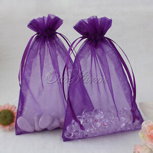 100-Purple-4x6-034-10x15cm-Strong-Sheer-Organza-Pouch-Wedding-Favor-Gift-Candy-Bag