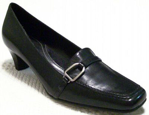 New NATURALIZER Women Blk Leather Kitten Heel Dress Pump Loafer shoes Sz 6.5 M
