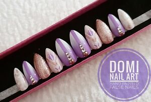Hand Painted False Nails Purple Rose Gold Glitter Ombre Diamonds