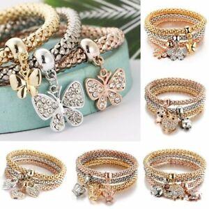 Chic-Multilayer-Crystal-Owl-Butterfly-Bracelet-Bangle-Gold-Heart-Pendant-3pc-Set