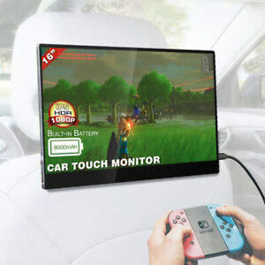 16 inch Portable headrest car monitor 1080p FHD touch screen Built in Battery