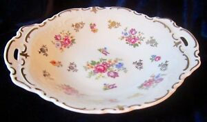 Vintage-Reichenbach-Round-Handled-Serving-Bowl-2253p-Flowers-9-25-in-GDR