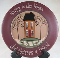 Happy Is The House That Shelters A Friend Wooden Plate 9.5 In Tabletop Decor