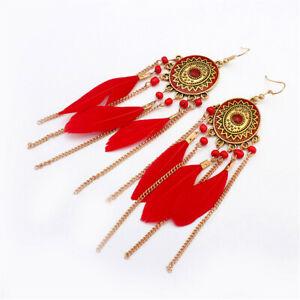 Fashion-Bohemian-Feather-Tassel-Dangle-Earrings-Vintage-Gold-Disc-Chandelier
