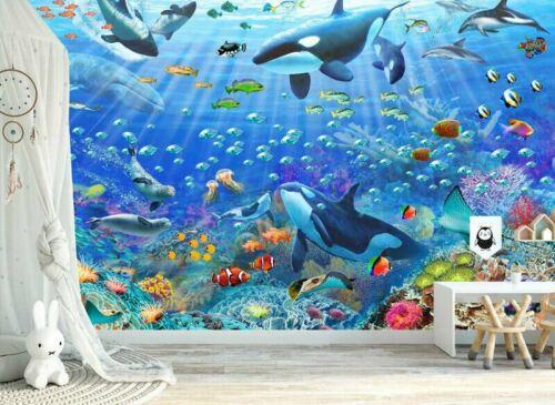 Underwater Scene Wall Mural Paper Kids Room Nursery Decor Sticker DIY Gift AM22