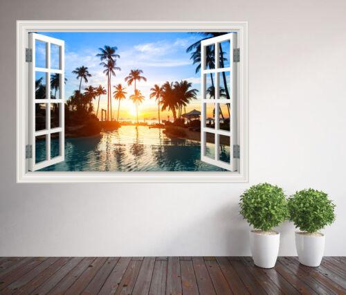 plage Palm Tree lined plage au coucher du soleil Fenêtre Autocollant Mural Papier Peint 24035350ww