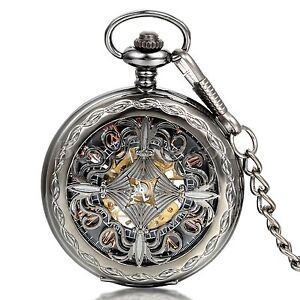 Men-039-s-Vintage-Antique-Hollow-Chinese-Knot-Hand-winding-Mechanical-Pocket-Watch