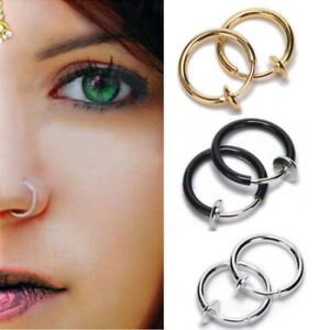 3Pair-Clip-on-Boby-Nose-Lip-Ear-Fake-Piercing-Rings-Stud-Punk-Goth-False-Hoop