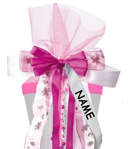 """große 3-D Schleife für Schultüten 55 cm lang 24 cm breit u /"""" rosa /& pink /"""""""