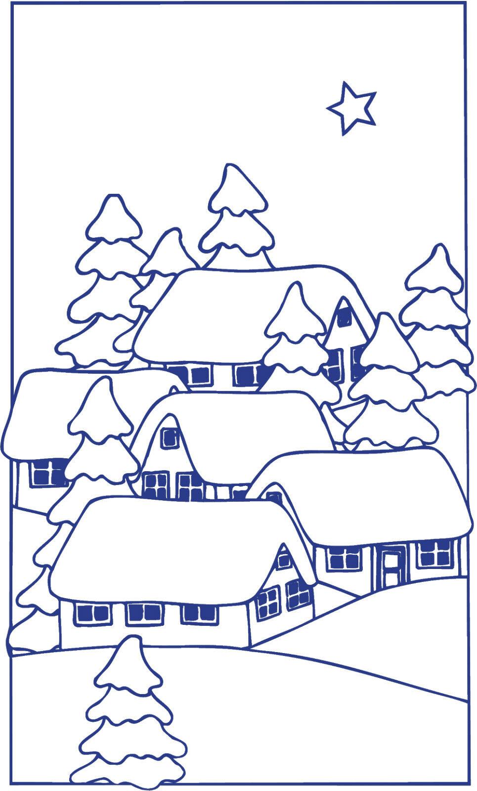 (WD0808 blau) Applikation Aufkleber Dekor • Winterdorf • versch. Größen