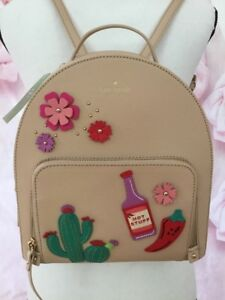 KATE-SPADE-NWT-CACTUS-TOMI-NEW-HORIZONS-CASHEW-LEATHER-BACKPACK-HOT-STUFF-CACTUS