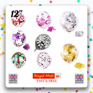 """Lot de 12 confettis ballons latex 12"""" décorations à L'hélium Fête D'anniversaire Mariage"""