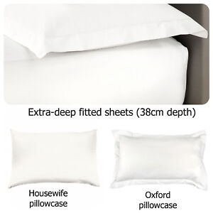 LUXURY-White-100-Cotton-200-TC-EXTRA-DEEP-Fitted-Bed-Sheets-amp-Pillowcases