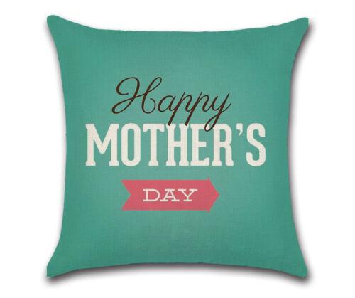 """18/"""" Mother/'s Day Cotton Linen Pillow Case Sofa Throw Cushion Cover Home Decor"""