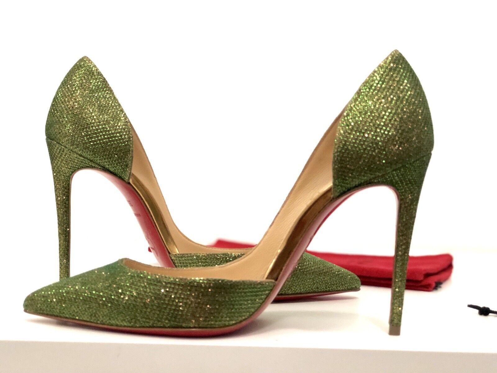 NEW Christian Christian Christian Louboutin Iriza 100 Glitter Shinny gold Holographic Heel 35,5 830d5e