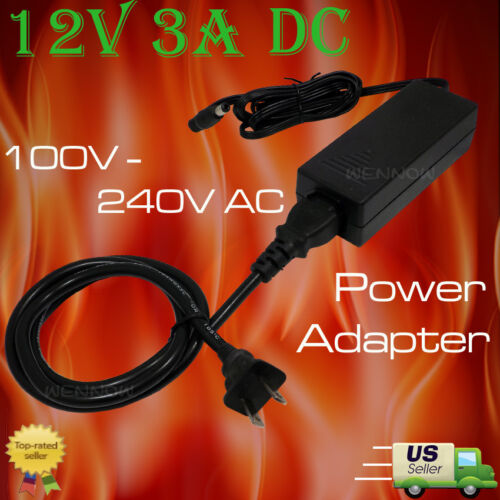 Surveillance Camera 12V 3A DC Power Adapter with power cord for Q-see Zmodo