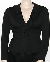Sunny Leigh Long Sleeve Zip Ruffle Front Smock Waist Jacket (a) Black/medium