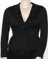 Sunny Leigh Long Sleeve Zip Ruffle Front Smock Waist Jacket (a) Black/medium